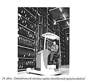 gumiabroncsok tárolása sajátos tárolókeretek igénybevételével