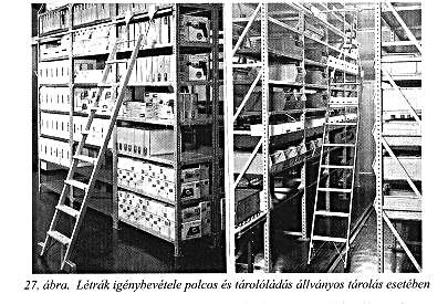 létrák igénybevétele polcos és tárolóládás állványos tárolás esetén