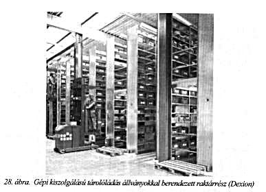 gépi kiszolgálású tárolóládás állványokkal berendezett raktárrész