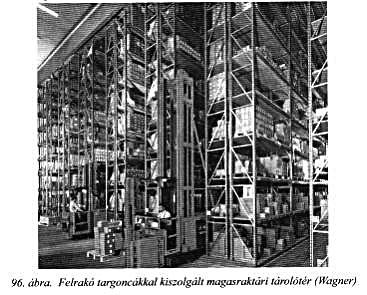felrakó targoncákkal kiszolgált magasraktári tárolótér
